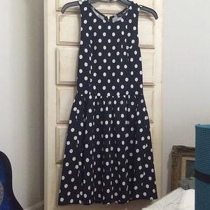 Navy blue, White Polka-dotted Dress